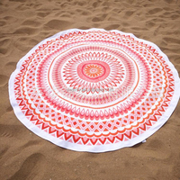 Printed Cotton Round Beach Towel Mandala 100% Cotton JS0403010916- 1B