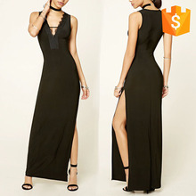 Korean Fashion Summer Long Black Evening Dress With Eyelash Lace Trim