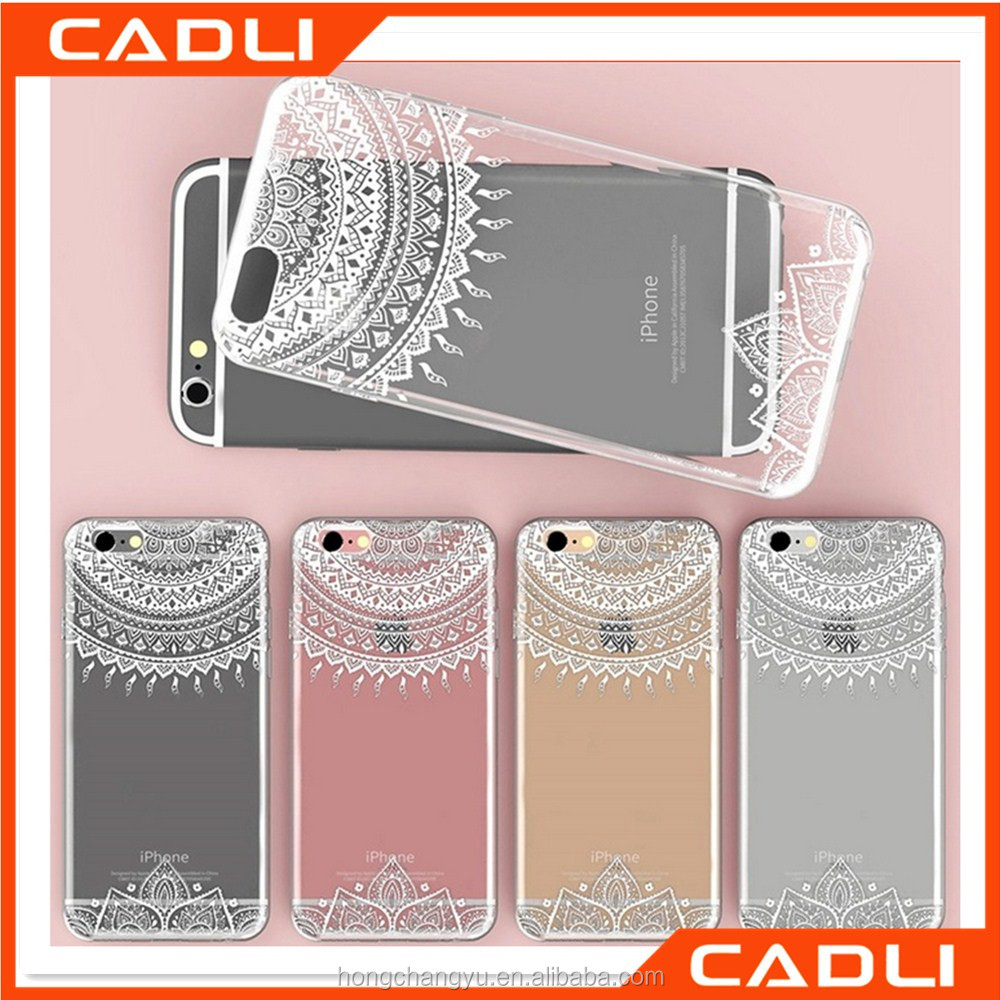 Girls' Phone Case Sublimation Lace Flower Pattern Soft Silicone Clear Transparent Phone Case for Apple Iphone 6s