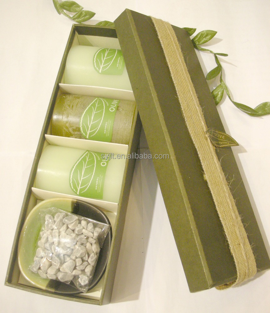 Olive & Green Color High Quality Pillar Candle