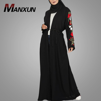 High Quality Modern Black Embroidery Designs Kimono Abaya Dubai Style Belt Fashion Jilbab Abaya Women Wear Islamic Clothing