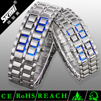 silver bracelet slap watch,famous brand plating binary led watch