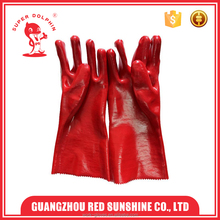 Pro long sleeve pvc gloves red pvc coated chemical gloves