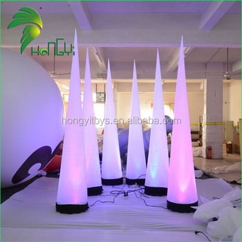 Factory price led light inflatable ivory cone for party decoration