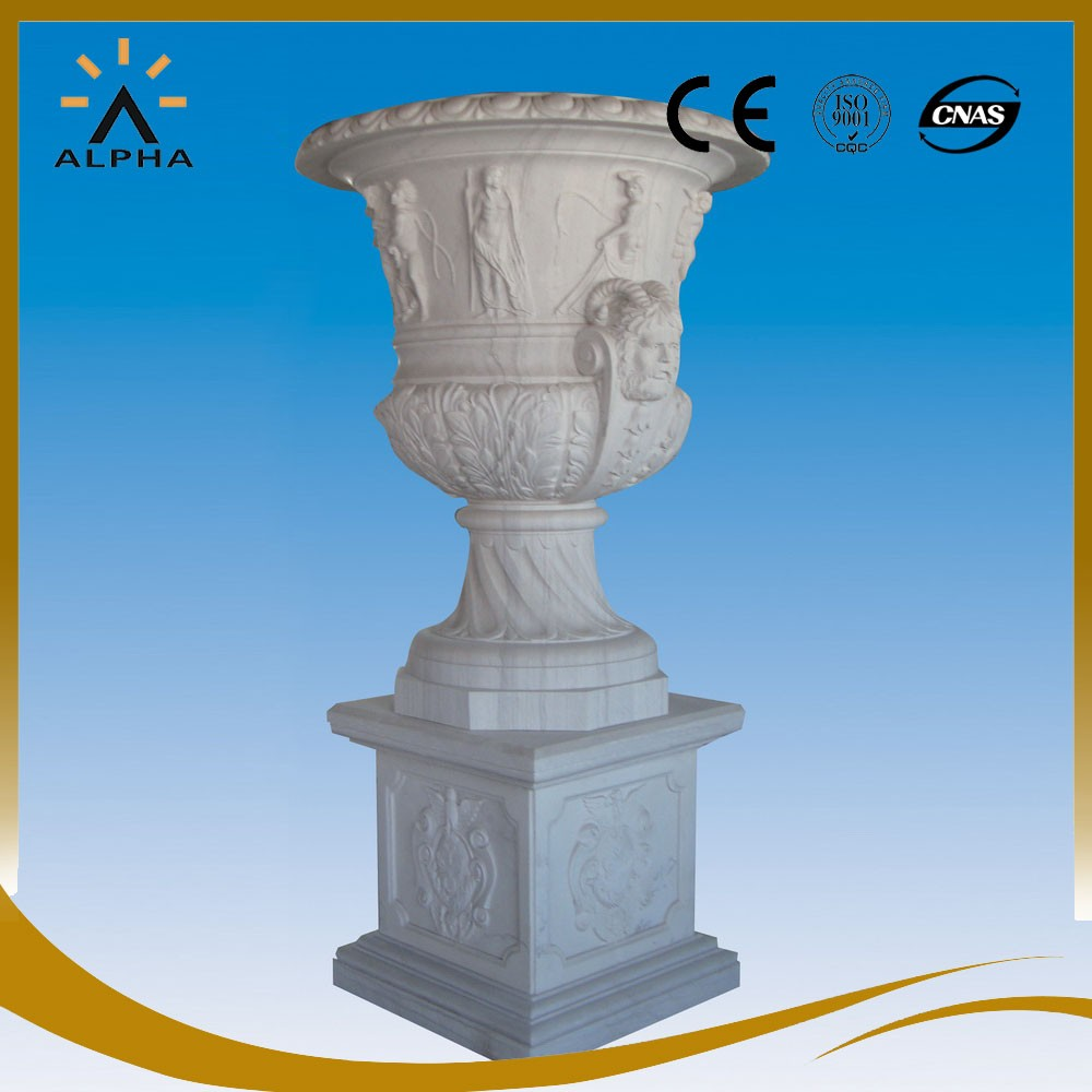 Outdoor Marble Flower Vase With Statues