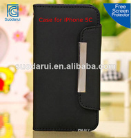 For iPhone 5C Magnetic Wallet PU Leather Case, 3 Card Slots Pockets, Money Clip