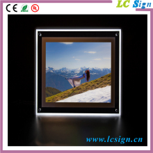 High transparency acrylic light box with clear outer frame for interior advertising