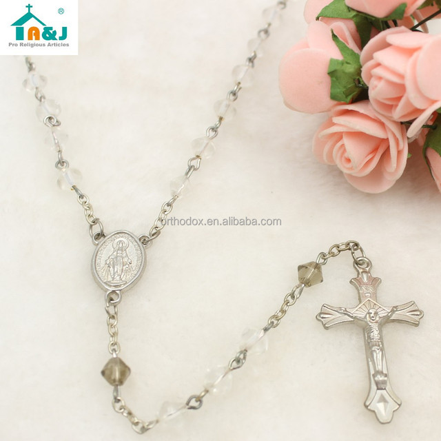 Hot sale catholic alloy plastic crystal rosary bead necklace