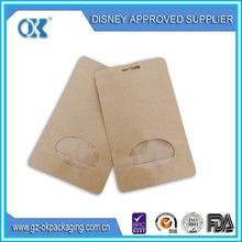 clear plastic zipper bag with handle/kraft paper bag with window and zipper/transparent zipper bag