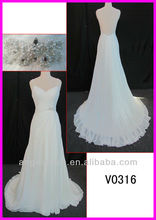 2014 guangzhou sexy real sample beaded pattern chiffon column wedding dress/bridal gown with sparkl sash/belt/sweetheart V0316