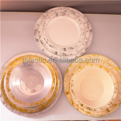 Disposable PS plastic plate with hot stamp plastic plate for restaurant