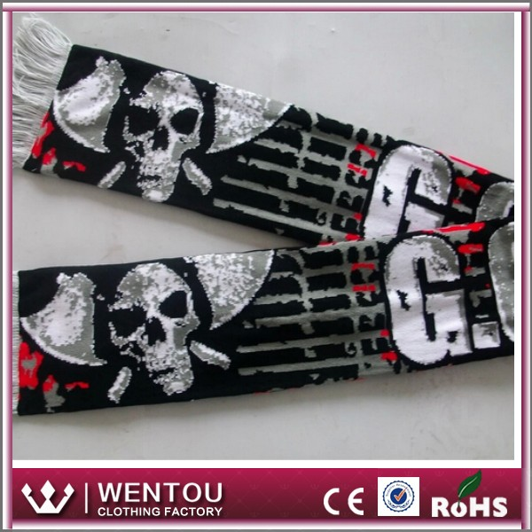Wholesale high quality skull acrylic woven fans scarf