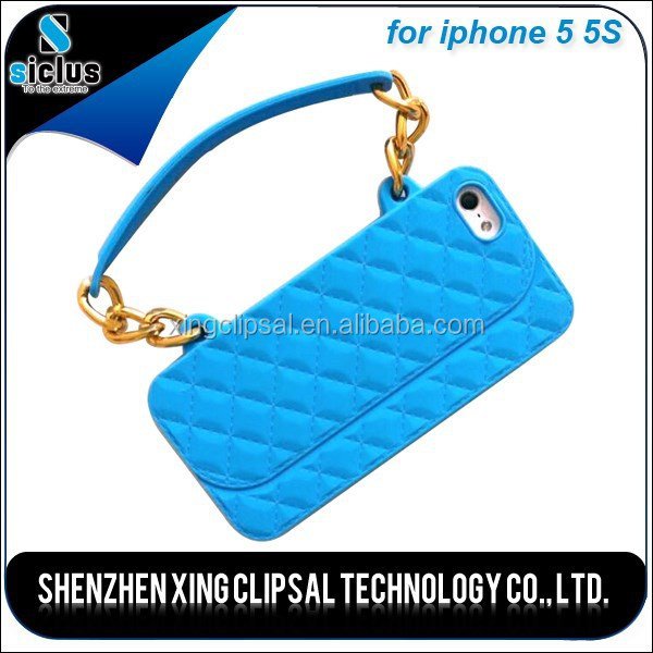 3D Chain Strap Handbag Silicon Cover case for Apple iPhone 5 5S