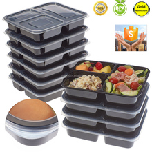 Amazon Hot Selling Plastic food storage containers Meal prep3 Compartment with airtight Lids, Microwave,36oz Bento Box BPA Free