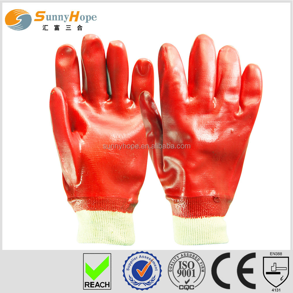 Breathable knit wrist red PVC oil-resistant gloves