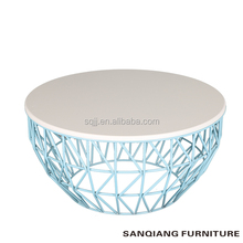 SANQIANG Custom metal retro blue mesh round wire coffee table