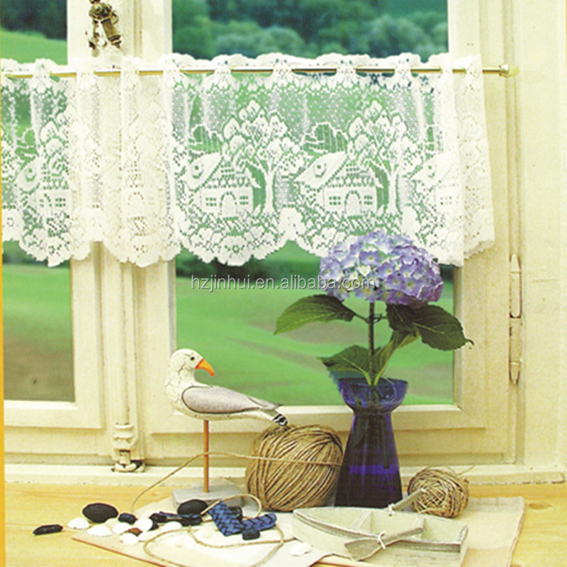 house design white lace kitchen curtain valance knitted lace window half curtain