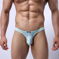 JQK312N Men Sexy Mesh Nylon Ice Silk Briefs G-string Thong Tanga Transparent Underwear Jocks T-back
