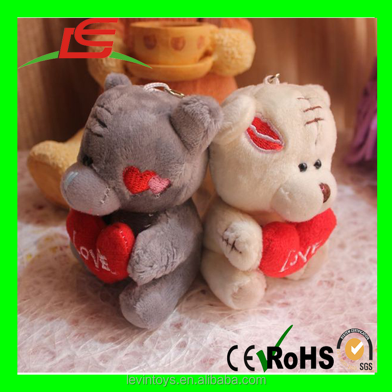 China Factory Wholesale PP Cotton Filling Plush White Color Teddy Bear With Red Heart