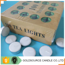 White unscented 10 hour tea light candle with burning long time