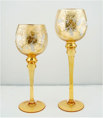 Top sale golden or customerized rose gold glass votive candle holders