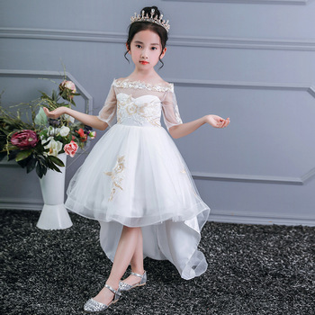 Pabasana New Design Half Sleeve Off-shoulder White Tulle Dresses Gracefule Pageant Gown Party Little Girl Dresses.