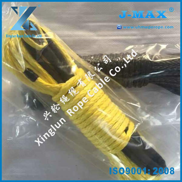 SUV ATV car 8000lbs electric winch color 12 strand braid strong synthetic tow rope with lug and thimble hook
