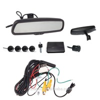 "2016 Auto 4.3"" LCD Camera Car Rearview Mirror Reverse Radar System 4 Parking Sensors"