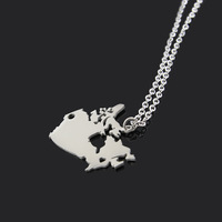GJ1890 Fashion Stainless Steel Mens Necklace, Canada Map Necklace For Women Jewelry
