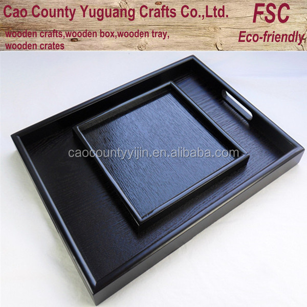 Rectangular solid wood hotel tray with black color