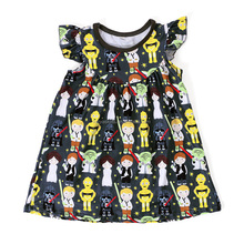 Fashion 2017 girl boutique clothes cartoon dress kids frock designs pictures
