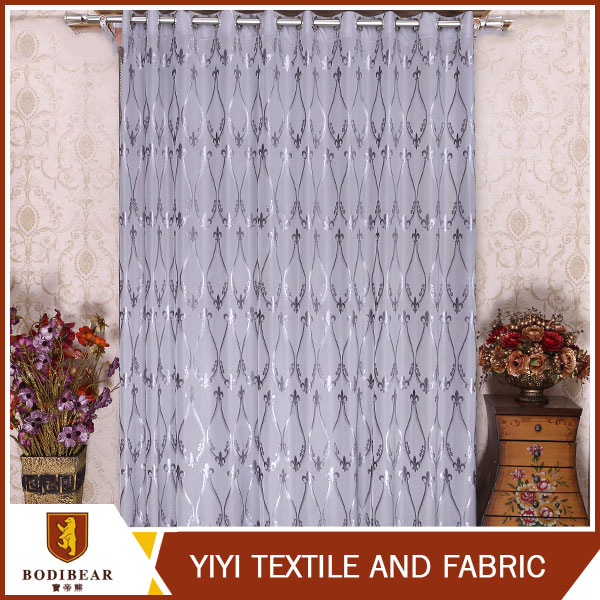 dark grey color less weight curtain fabric for church and building office used