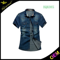 Top quality casual shirts designs light blue denim shirt for men