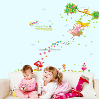 Promotional Beautiful Swing Girl PVC Wall Decor Stickers from Chinese Wall Sticker Manufacturer