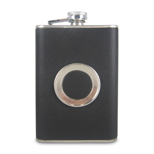 Available Black Leather Stainless Steel 8OZ Liquor Flask With Built-in Collapsible 2 OZ Cup