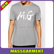 Summer best popular men casual dry fit plain gray t shirts with large logo pattern