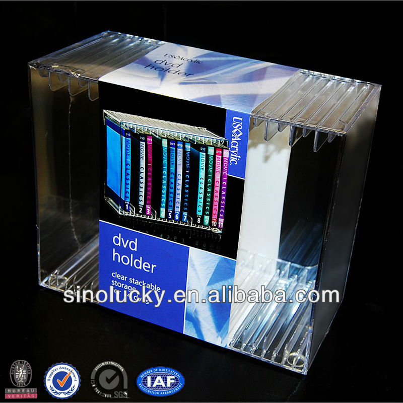 Plastic DVD Holder, Acrylic DVD Display, Acrylic DVD Storage. Acrylic Compact Disc Holder