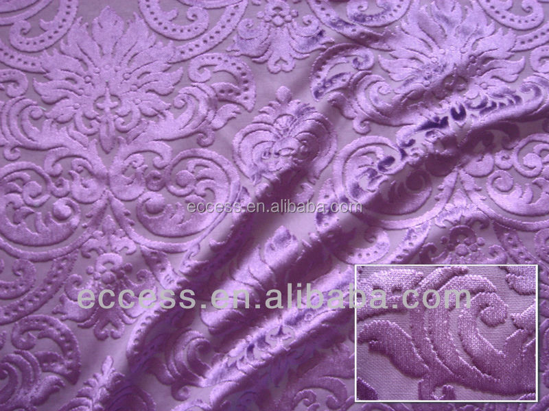 Polyester jacquard cut velvet fabric dyed for drapery curtains and sofa covers