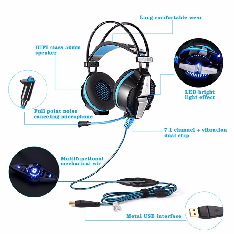 G7000 7.1 Virtual LED Microphone Surround Sound USB Computer Gaming Headset Headphone