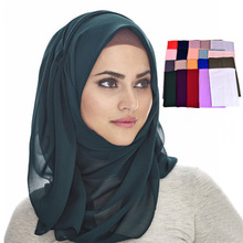Wholesale Pure Color 130g Chiffon Muslim scarf women hijab