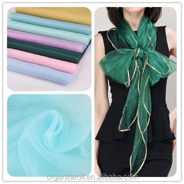 2015 beautiful organza fabric 100% polyester for long scarf