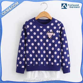 Cute allover printing design wholesale children clothing embroidered fox kids sweatshirt