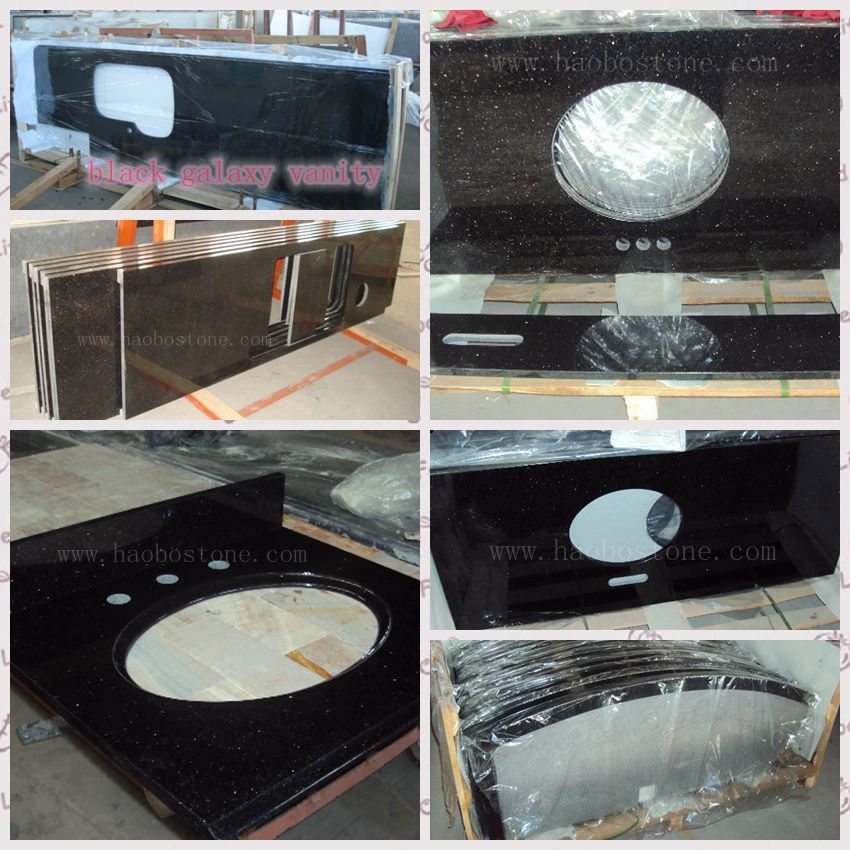 Haobo Stone Black Galaxy Hotel Vanity Projects Countertops