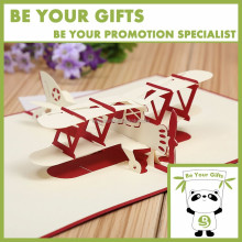 Promotional Custom 3D pop up card airplane shape greeting card gift card