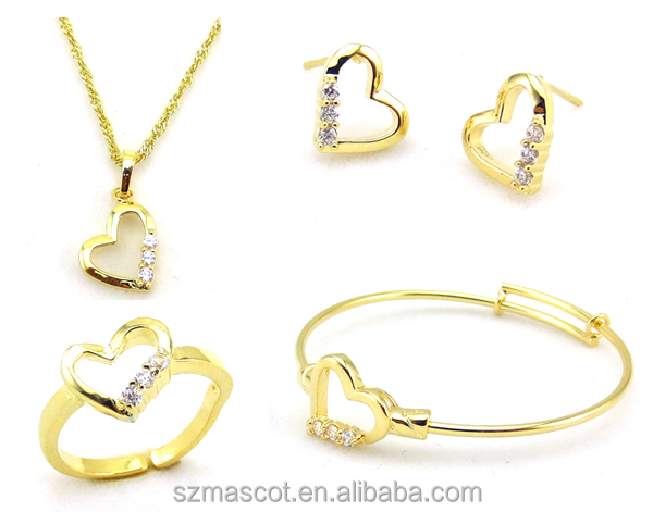 Necklace Bangle Earrings Rings Indian Jewellery Set, Specially Design Jewelry For Kids,Gold Plated Jewelry Set