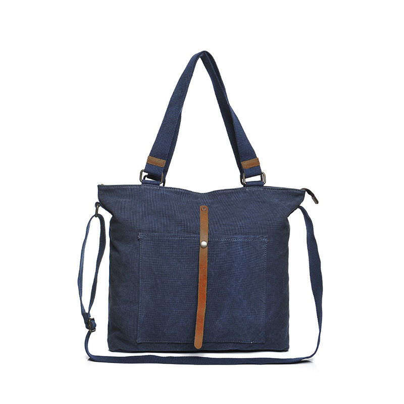 YD-2248 Canvas & Cow Leather Retro Handbag Fashion Durable Large Capacity Tote bag
