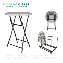 Cocktail Round Table Trolley Metal Transport Cart, Heavy Duty K/D Metal Moving Dolly