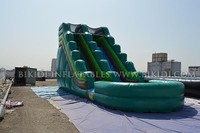 Art panel design with pool inflatable slide, CE inflatable water slide for sale B4099