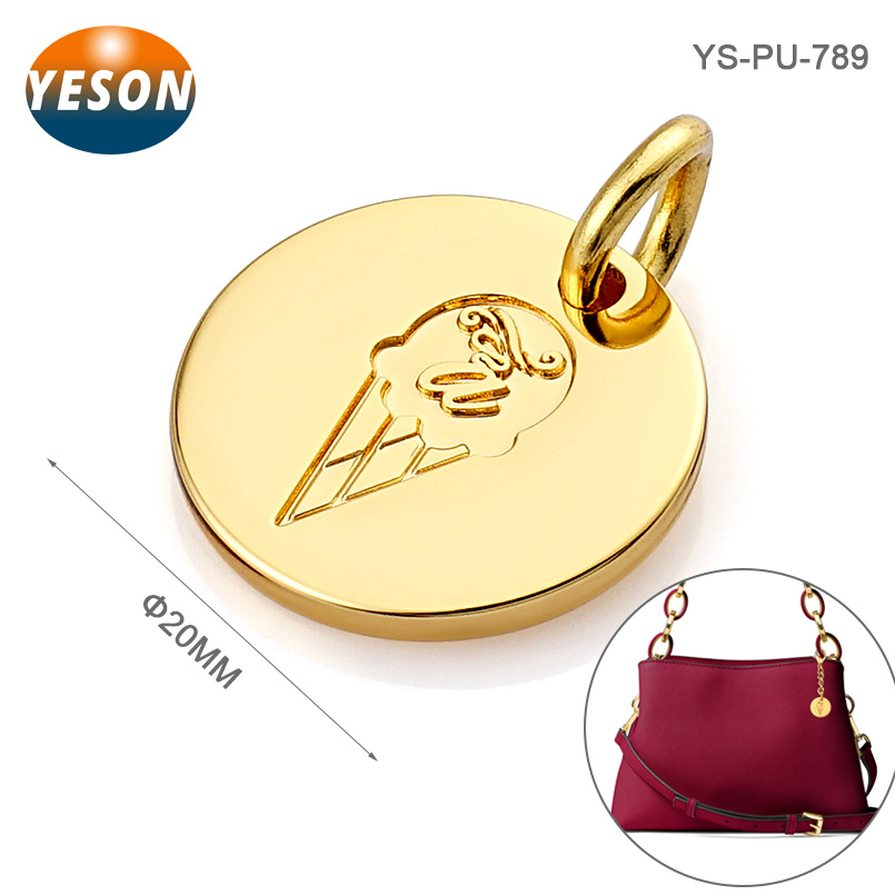 Round With Deboss Logo Hang Custom Handbags Metal Logo Design