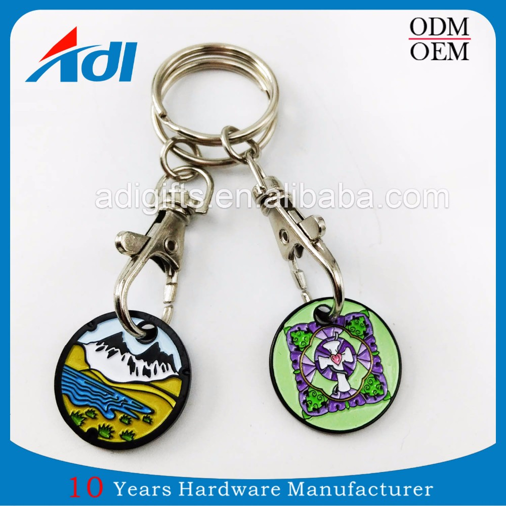 Custom car key ring trolley token metal coin holder for sale